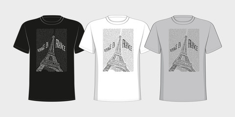 Image of the Eiffel Tower placed on t-shirts.  Black and white.