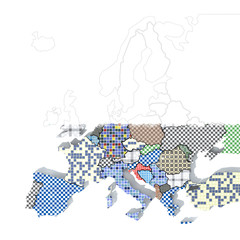 Mappa Europa 3D con materiali ceramica grunge