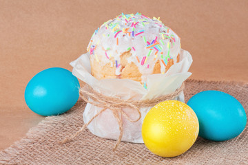 Easter cake and Easter eggs.