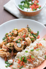 Prawns fried with chilies and green onions, Asian cuisine food
