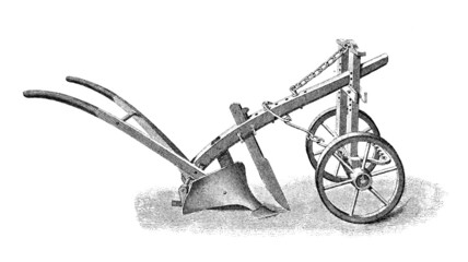 Victorian engraving of a plough Wall mural