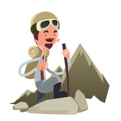 Man climbing a mountain vector illustration cartoon character