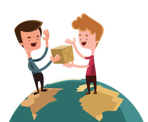 Exchanging gifts over world illustration cartoon character