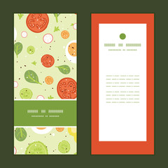 Vector fresh salad vertical frame pattern invitation greeting