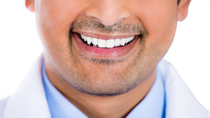 Cropped portrait young healthy man teeth lips and smile