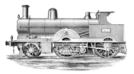 19th century engraving of a steam engine train