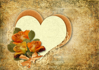 Grunge background with roses and heart.Valentines card.