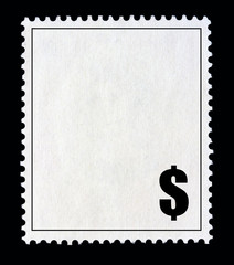 White postal stamp with the Dollar symbol