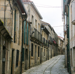 Old street in Tui, Galicia, Spain