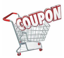 Coupon 3d Word Shopping Cart Spending Less Saving Sale