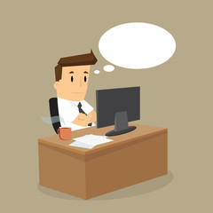 working hard business man on his desk