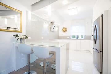 Designer white kitchen interior