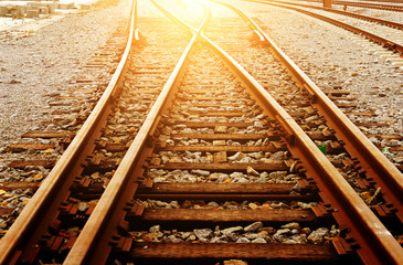 Spoed Fotobehang Spoorlijn Rail