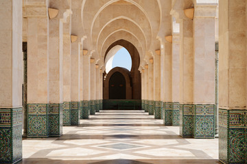 Morocco. Arcade of Hassan II Mosque in Casablanca