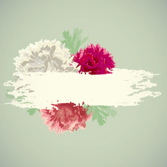 Beautiful peonies with a label vector