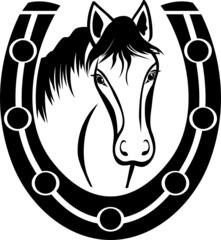 Horse and Horseshoe, black stencil