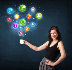 Businesswoman holding a white cup with setting icons