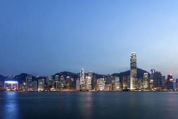 panoramic cityscape and skyline of hongkong harbor at night