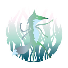 Illustrated beast. Cartoon werwolf. Magic animal in the forest