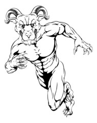 Sprinting ram mascot