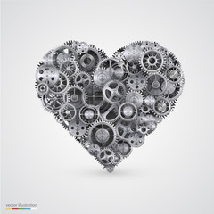 Heart made of cogwheel.