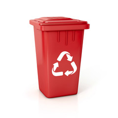 red Recycle bin with recycle sign.