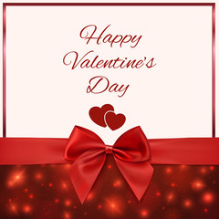 Valentines Day greeting card template with red bow and ribbon