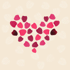 heart of raspberries in the Valentine's Day vector