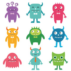 Photo sur Aluminium Creatures Friendly monsters set