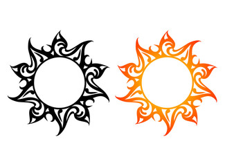 Vector ornaments, abstract sun, fire