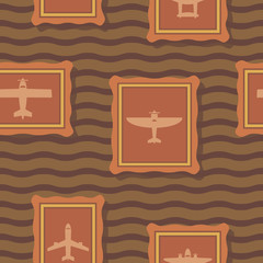 Seamless background with different airplanes