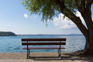 Bracciano Lake - Lonely bench in a silent place