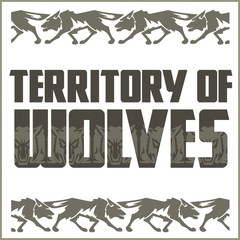 Retro ornament - running wolves and inscriptions.