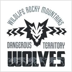 Head Wolf -  North American ornamental style.