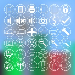 Vector set of modern simple thin icons on blurred background