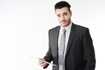 isolated young business man digital tablet white background