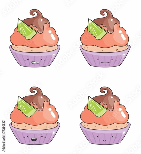 desenho cupcake emoticons 07 stock image and royalty free vector