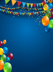 abstract celebration birthday background with colorful balloons