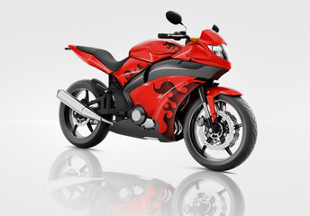 Motorcycle Motorbike Bike Riding Rider Contemporary Red Concept