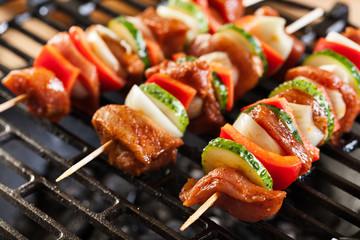 Aluminium Prints Grill / Barbecue Grilling shashlik on barbecue grill