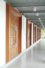 Row of the closed wooden doors