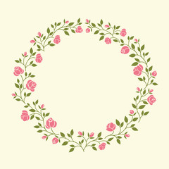Cute flowers arranged in a shape of the wreath