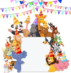 Safari Animals Wearing Party Hats