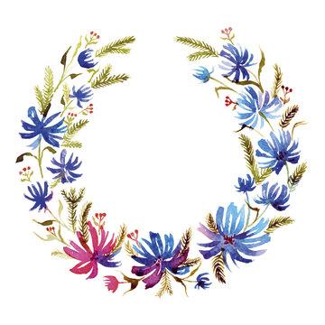 Congratulatory wreath of blue flowers