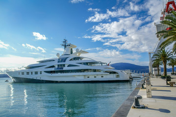Yacht parked in Poro Montenegro,Tivat,Montenegro