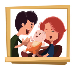 Happy family portrait vector illustration cartoon character
