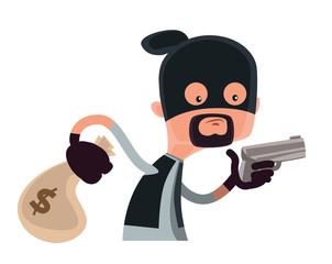 Thief in black holding gun vector illustration cartoon character