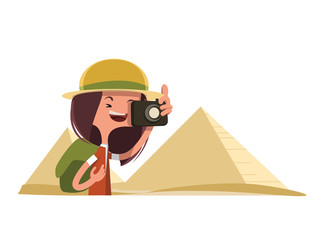 Tourist in Egypt taking photos illustration cartoon character