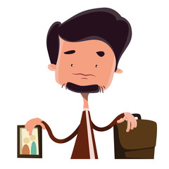 Businessman devided between family and job vector cartoon