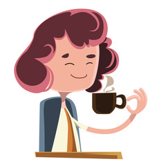 Women drinking coffee vector illustration cartoon character